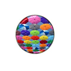 Color Umbrella Blue Sky Red Pink Grey And Green Folding Umbrella Painting Hat Clip Ball Marker (4 Pack)