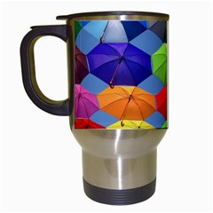 Color Umbrella Blue Sky Red Pink Grey And Green Folding Umbrella Painting Travel Mugs (White)