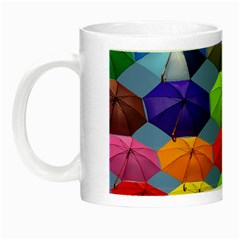 Color Umbrella Blue Sky Red Pink Grey And Green Folding Umbrella Painting Night Luminous Mugs