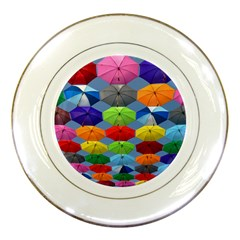 Color Umbrella Blue Sky Red Pink Grey And Green Folding Umbrella Painting Porcelain Plates