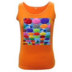Color Umbrella Blue Sky Red Pink Grey And Green Folding Umbrella Painting Women s Dark Tank Top