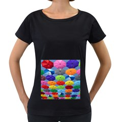 Color Umbrella Blue Sky Red Pink Grey And Green Folding Umbrella Painting Women s Loose Fit T Shirt (black)