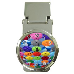 Color Umbrella Blue Sky Red Pink Grey And Green Folding Umbrella Painting Money Clip Watches