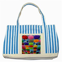 Color Umbrella Blue Sky Red Pink Grey And Green Folding Umbrella Painting Striped Blue Tote Bag