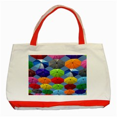 Color Umbrella Blue Sky Red Pink Grey And Green Folding Umbrella Painting Classic Tote Bag (Red)