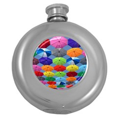 Color Umbrella Blue Sky Red Pink Grey And Green Folding Umbrella Painting Round Hip Flask (5 oz)