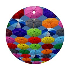 Color Umbrella Blue Sky Red Pink Grey And Green Folding Umbrella Painting Round Ornament (Two Sides)