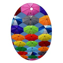 Color Umbrella Blue Sky Red Pink Grey And Green Folding Umbrella Painting Oval Ornament (two Sides)