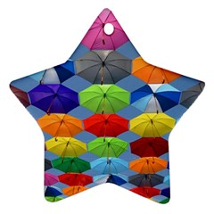 Color Umbrella Blue Sky Red Pink Grey And Green Folding Umbrella Painting Star Ornament (Two Sides)