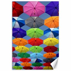 Color Umbrella Blue Sky Red Pink Grey And Green Folding Umbrella Painting Canvas 12  X 18