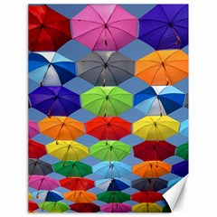 Color Umbrella Blue Sky Red Pink Grey And Green Folding Umbrella Painting Canvas 18  x 24
