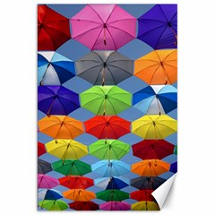Color Umbrella Blue Sky Red Pink Grey And Green Folding Umbrella Painting Canvas 20  x 30