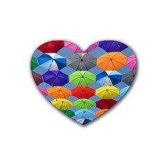 Color Umbrella Blue Sky Red Pink Grey And Green Folding Umbrella Painting Rubber Coaster (Heart)