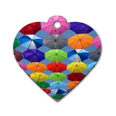 Color Umbrella Blue Sky Red Pink Grey And Green Folding Umbrella Painting Dog Tag Heart (Two Sides)