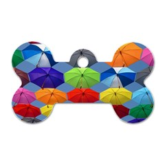Color Umbrella Blue Sky Red Pink Grey And Green Folding Umbrella Painting Dog Tag Bone (one Side)