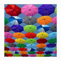 Color Umbrella Blue Sky Red Pink Grey And Green Folding Umbrella Painting Medium Glasses Cloth (2-Side)