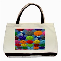 Color Umbrella Blue Sky Red Pink Grey And Green Folding Umbrella Painting Basic Tote Bag (two Sides)