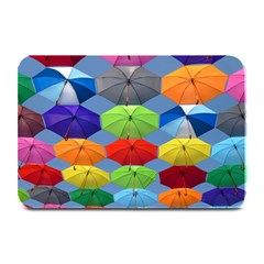 Color Umbrella Blue Sky Red Pink Grey And Green Folding Umbrella Painting Plate Mats