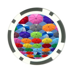 Color Umbrella Blue Sky Red Pink Grey And Green Folding Umbrella Painting Poker Chip Card Guard