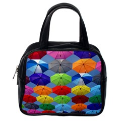 Color Umbrella Blue Sky Red Pink Grey And Green Folding Umbrella Painting Classic Handbags (One Side)