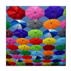 Color Umbrella Blue Sky Red Pink Grey And Green Folding Umbrella Painting Face Towel