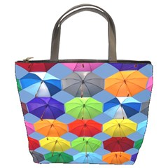 Color Umbrella Blue Sky Red Pink Grey And Green Folding Umbrella Painting Bucket Bags