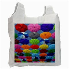 Color Umbrella Blue Sky Red Pink Grey And Green Folding Umbrella Painting Recycle Bag (One Side)