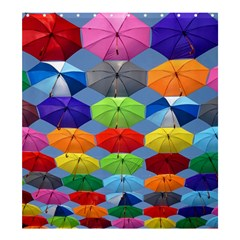 Color Umbrella Blue Sky Red Pink Grey And Green Folding Umbrella Painting Shower Curtain 66  x 72  (Large)