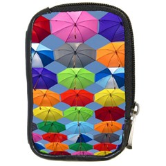 Color Umbrella Blue Sky Red Pink Grey And Green Folding Umbrella Painting Compact Camera Cases