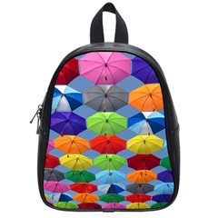 Color Umbrella Blue Sky Red Pink Grey And Green Folding Umbrella Painting School Bags (Small)