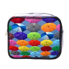 Color Umbrella Blue Sky Red Pink Grey And Green Folding Umbrella Painting Mini Toiletries Bags