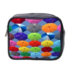Color Umbrella Blue Sky Red Pink Grey And Green Folding Umbrella Painting Mini Toiletries Bag 2-Side