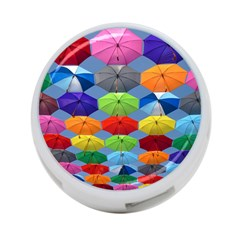 Color Umbrella Blue Sky Red Pink Grey And Green Folding Umbrella Painting 4-Port USB Hub (One Side)