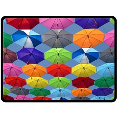 Color Umbrella Blue Sky Red Pink Grey And Green Folding Umbrella Painting Fleece Blanket (Large)