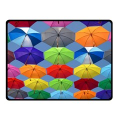 Color Umbrella Blue Sky Red Pink Grey And Green Folding Umbrella Painting Fleece Blanket (small)