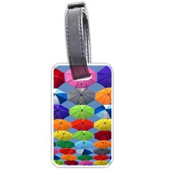 Color Umbrella Blue Sky Red Pink Grey And Green Folding Umbrella Painting Luggage Tags (two Sides)