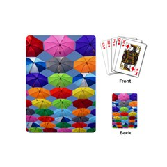 Color Umbrella Blue Sky Red Pink Grey And Green Folding Umbrella Painting Playing Cards (Mini)
