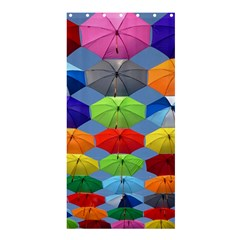 Color Umbrella Blue Sky Red Pink Grey And Green Folding Umbrella Painting Shower Curtain 36  x 72  (Stall)