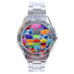 Color Umbrella Blue Sky Red Pink Grey And Green Folding Umbrella Painting Stainless Steel Analogue Watch