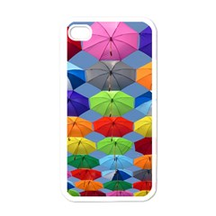 Color Umbrella Blue Sky Red Pink Grey And Green Folding Umbrella Painting Apple iPhone 4 Case (White)