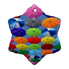Color Umbrella Blue Sky Red Pink Grey And Green Folding Umbrella Painting Ornament (Snowflake)