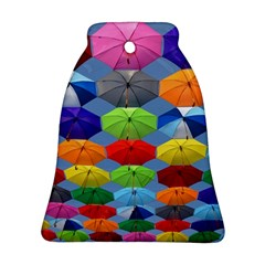 Color Umbrella Blue Sky Red Pink Grey And Green Folding Umbrella Painting Ornament (Bell)