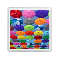 Color Umbrella Blue Sky Red Pink Grey And Green Folding Umbrella Painting Memory Card Reader (Square)