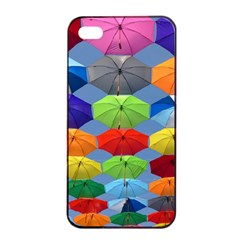 Color Umbrella Blue Sky Red Pink Grey And Green Folding Umbrella Painting Apple iPhone 4/4s Seamless Case (Black)