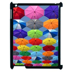 Color Umbrella Blue Sky Red Pink Grey And Green Folding Umbrella Painting Apple Ipad 2 Case (black)