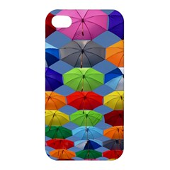 Color Umbrella Blue Sky Red Pink Grey And Green Folding Umbrella Painting Apple iPhone 4/4S Hardshell Case