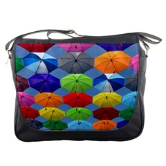 Color Umbrella Blue Sky Red Pink Grey And Green Folding Umbrella Painting Messenger Bags