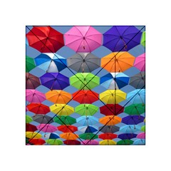 Color Umbrella Blue Sky Red Pink Grey And Green Folding Umbrella Painting Acrylic Tangram Puzzle (4  x 4 )