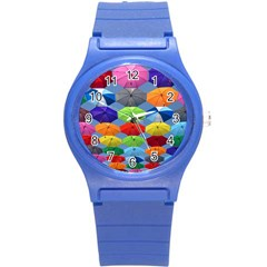 Color Umbrella Blue Sky Red Pink Grey And Green Folding Umbrella Painting Round Plastic Sport Watch (s)
