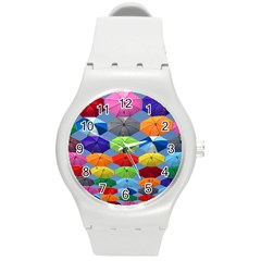 Color Umbrella Blue Sky Red Pink Grey And Green Folding Umbrella Painting Round Plastic Sport Watch (M)